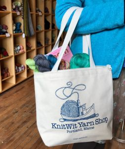 shop bag with KnitWit tug boat